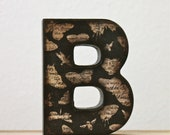 Letter B wooden initial butterfly moth decoupage brown sepia