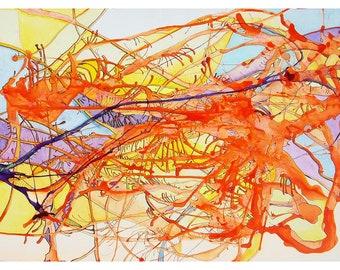 P30 - Orange Purple Abstract Art Postcard