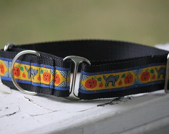 "Halloween Cats 1.5"" Martingale Collar"