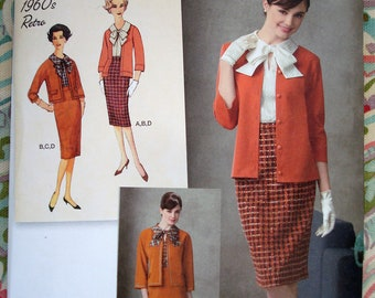 Simplicity 1960s Retro Blouse, Skirt, Jacket And Knit Cardigan Pattern 2154 - Size 6-8-10-12-14