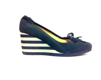 Striped Leather Wedge Mules 9.5 - Platform Ballet Flats 9.5 - Pirate Shoes