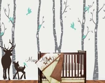 Birch Decal with Deer, Birch Decal, Birch with birds, Birch forest, Nursery Birch Trees Wall Vinyl