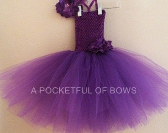 Purple Toddler Tutu Dress, Birthday Outfit 1st, 2nd, 3rd, 4th, 5th