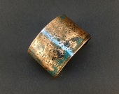 Dramatically Hammered - Copper Verdigris Cuff