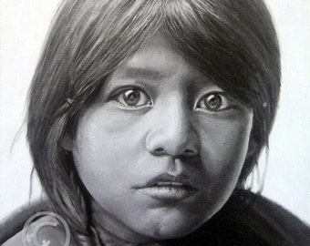 Acrylic Painting Fine Art Giclee Print, Matted, TAOS GIRL