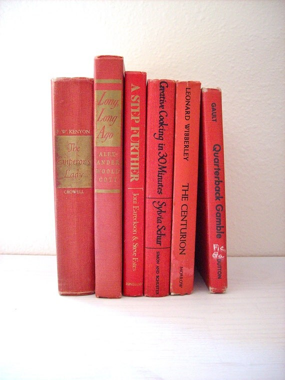 Vintage Books: Instant Red Orange Collection, 6 Books, Interior Design, Shabby Chic Decor