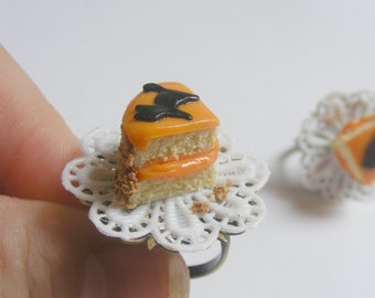 Food Jewelry Scented or Unscented Halloween Bat (or Cat) Cake Slice Miniature Food Ring  - Miniature Food Jewelry