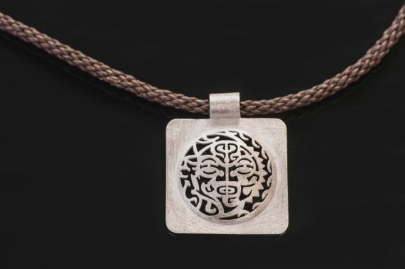 Unique Tribal Silver Pendant - Amulet Necklace -  Unisex Square Lucky Necklace - Sterling Silver Surfer jewelry