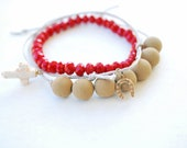 stacked bracelets set of three - beige and red bracelets - black orchid