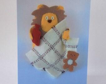 Get Well Soon Card Poorly Lion pale ill sick blanket hot water bottle teddy bear