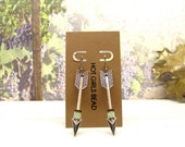 Handmade Silver Arrow Pastel Mint Peyote Earrings, Jewelry Gift