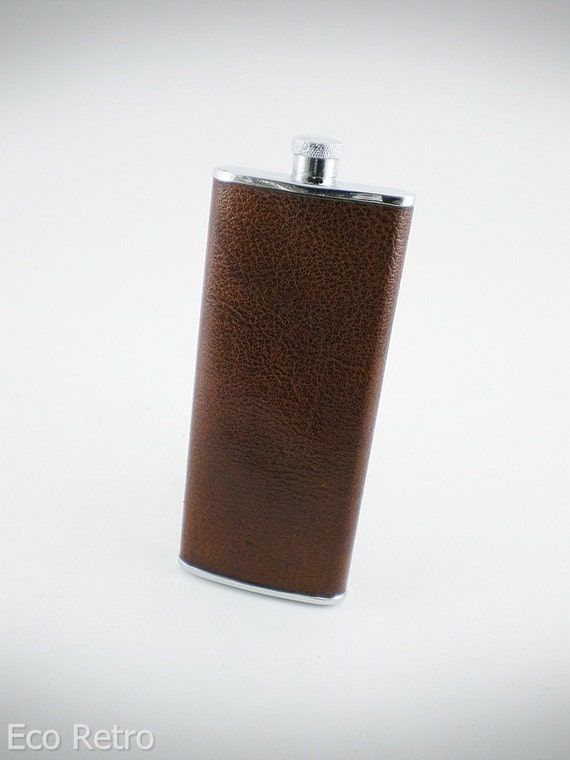 Unusual Tall Slender Vintage Hip Flask with Nice Saddle Brown Leather Covering