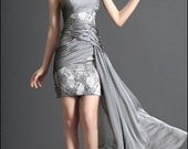 Gray Coctail Dress One Shoulder Lace, any size, custom order