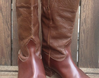 Handcrafted Leather Riding Boots Chestnut Brown Womens Size 8 8.5