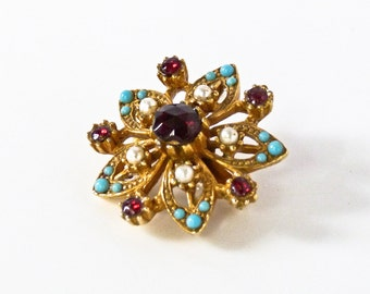 Vintage Brass Rhinestone Floral Brooch in Red and Blue
