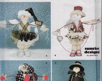 Snowman Doll Pattern - Simplicity Crafts 9442 Sunrise Designs -OOP Jana Beus - Four Snow Women Designs to Sew - Christmas Decorations