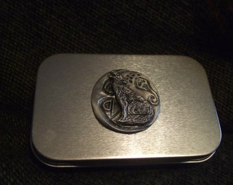 Howling wolf Canine spirit metal pocket stash tin with hand sculpted pewter. treasure box home roller cigarette tin pocket size