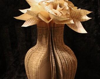Small Flower Vase Book Sculpture