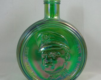 "Vintage Dwight D. Eisenhower Green Carnival Wheaton Glass Bottle ""Great American Decanter Series"""