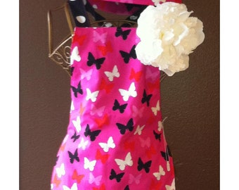 Apron and Hat Set -- Magenta Butterflies