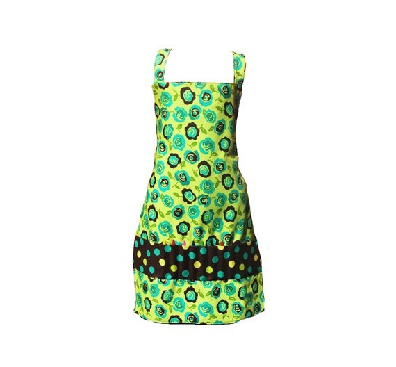 Kids Apron, Girl's Craft Apron -- Green & Brown Flowers With Crayon Pockets