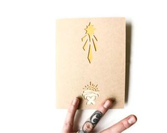 Modern Manger Christmas Card:  Laser Cut Greeting Card