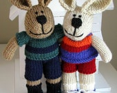 Custom Couple Gift - Personalized Wedding Anniversary Couples Gift - Knitted Bunny Rabbit - Custom Soft Toy Portrait -  Bunny Soft Sculpture