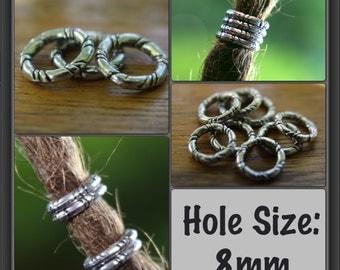15 (7mm) Tibetan Silver Rings DREADLOCK BEADS 7mm Hole DREAD Hair Beads