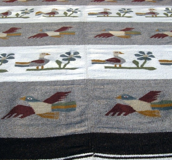 SALE-Vintage Mexican Wool Rug With Bird Design By MarketHome