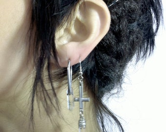 Handmade Inverted Cross & Encased Crystal Dangle Earring, OOAK