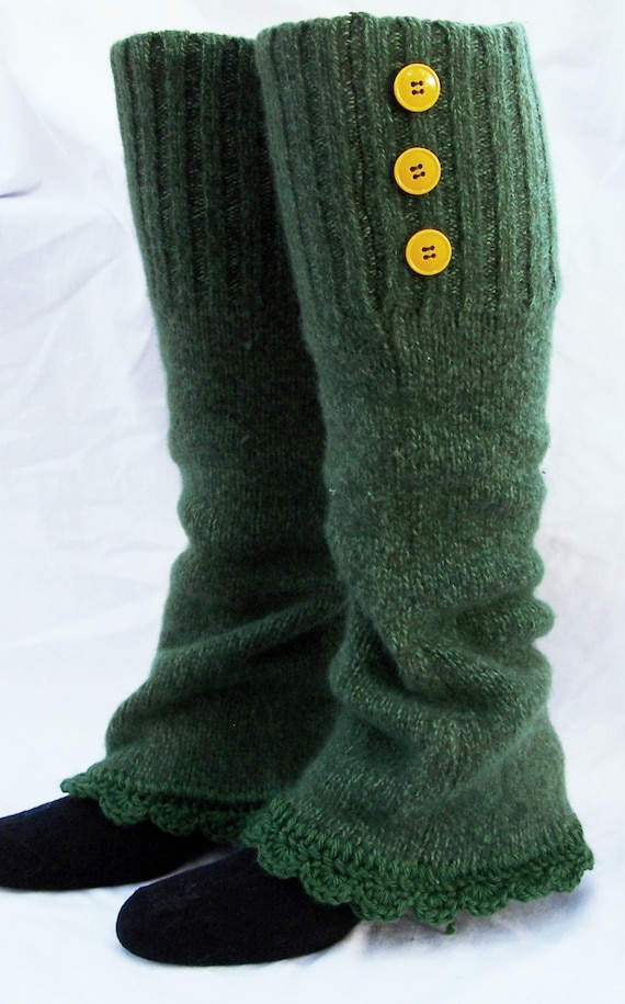 Knitting Pattern Leg Warmers Bulky Yarn : Wool leg warmers recycled bulky sweater womens accessories