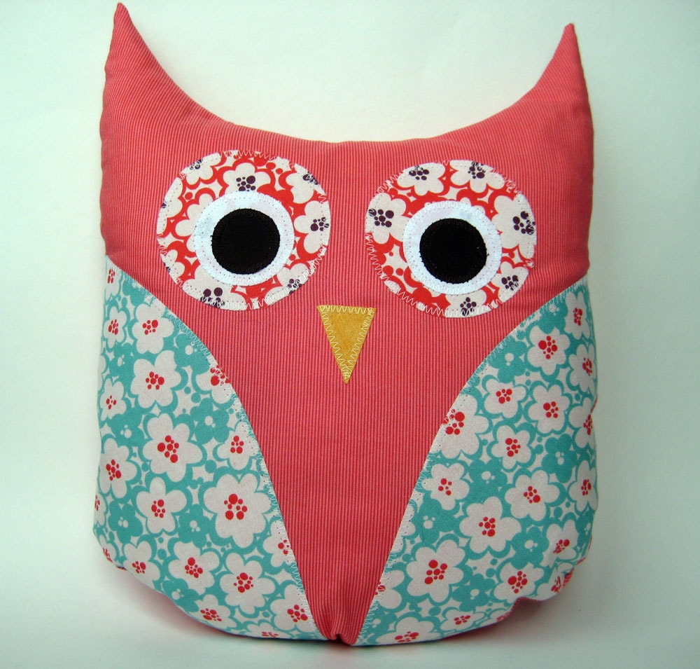 Owl Pillow Handmade Floral Plush Owl Shaped Pillow