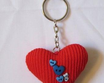 red sock heart keyring