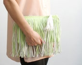 L I M E /Pastel green women leather clutch with fringe