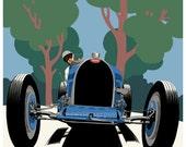 Art Deco Bugatti Type 51 giclee poster print