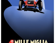 Art Deco Alfa Romeo Mille Miglia poster giclee print