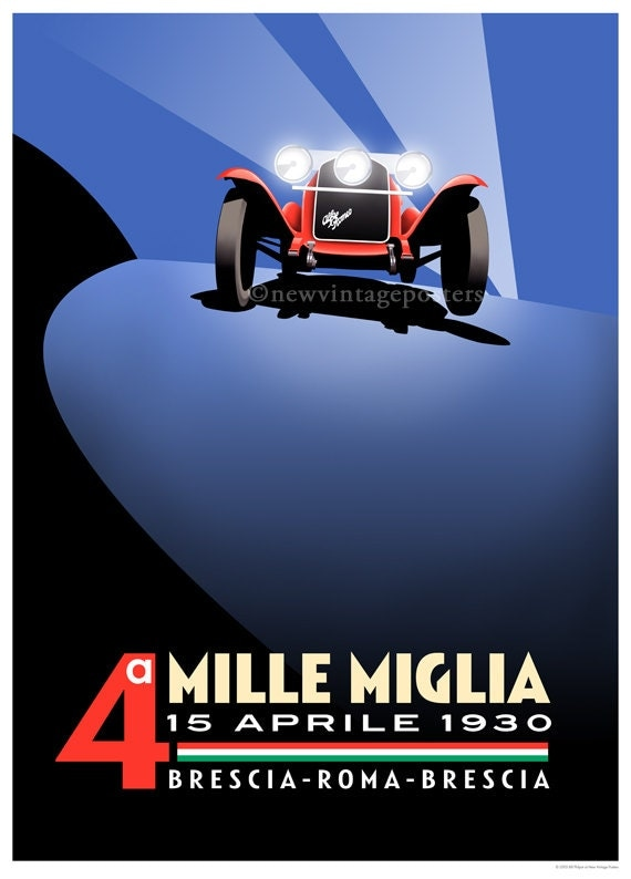 art d co alfa romeo mille miglia affiche gicl e. Black Bedroom Furniture Sets. Home Design Ideas