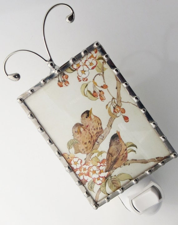 Bird Night Light - Vintage Image Nightlight - Wall Light - Nursery Night Light - Home Accessory N66
