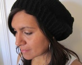Black Hand Knitted Slouch Beanie for Women and Men. Hipster Beanie. Extra Large Beanie. Women's Beanies. Men's Beanies.