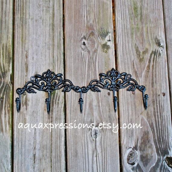 Items similar to wall hook rack black jewelry key for Bathroom jewelry holder