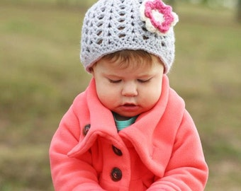 Open Weave Beanie - Baby Girl hat