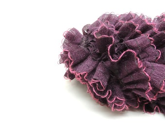 Ruffled Dark Purple Fashion Scarf with Fuchsia Edging