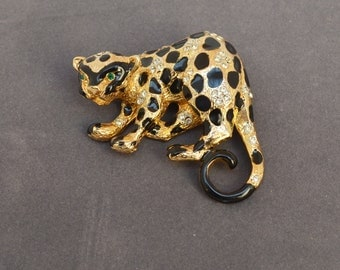 Wonderful Vintage CRAFT Pin Leopard  Gold and Black  Signed