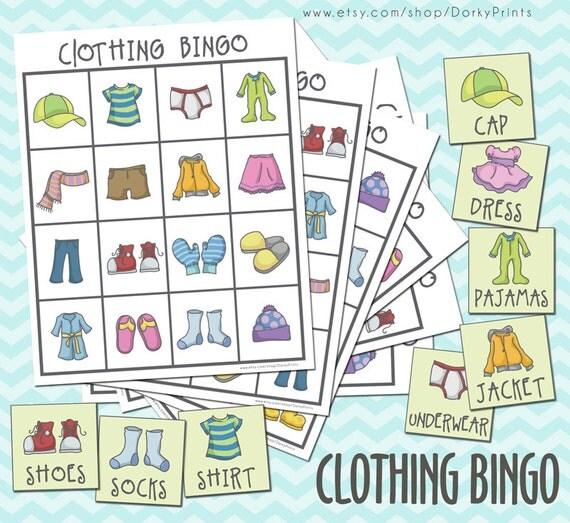Clothing Printable Bingo Game PDF preschool printable