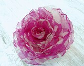 Pink Flower Hair Clip, Pink Wedding Hair Flower, Pink Rose Hair Clip, Bright Pink Hair Accessory, Hot Pink Bridal Hair Flower