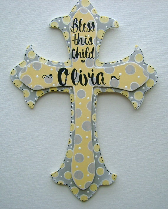 Hand painted personalized kids yellow and grey wooden cross wall decor