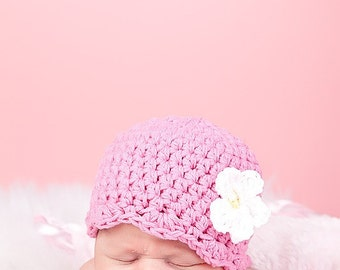 Baby Girl Hat 0 to 3 Month Pink Baby Hat Baby Girl Clothes Baby Girl Clothing Crochet Flower Hat Flapper Beanie Flapper Hat Photo Prop