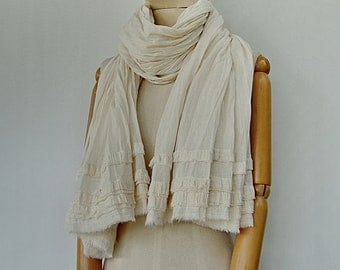 NO.80  Cream Cotton Crinkled Scarf