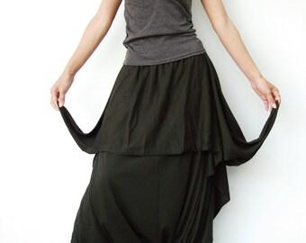 NO.86 Dark Olive Cotton-Blend Jersey Cool Unique Asymmetric Casual Loose Novelty Harem Pants, Trendy Unusual Trousers
