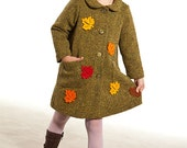 Autumn leaves kids girls coat size 41 inch, girl wool coat, school style girl, maple leaf, Canada childrens, toddler coat, green kids coat - Graccia